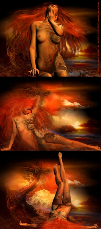 image d'une femme rousse en trois image