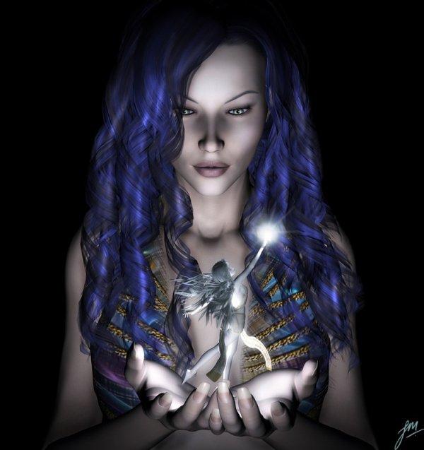femme au cheveus bleu et une fée