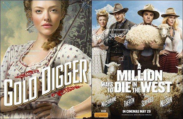 A Million Ways To Die in The West, le nouveau film d'Amanda aux côtés des acteurs Seth MacFarlane et Charlize Theron. Découvrez les affiches, ainsi que quelques stills tirés du film et la bande annonce.