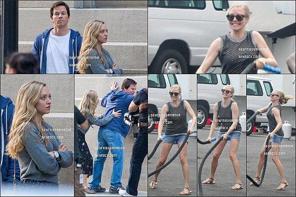 5 août 2014 : Amanda toujours sur le tournage de son film Ted 2 avec Mark Wahlberg. Elle a l'air de bien rigoler :)