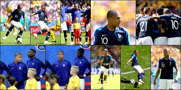 . .......16/06/18 Pour leur premier match en coupe du Monde, les Bleus se sont imposés 2-1 contre l'Australie à Kazan. .