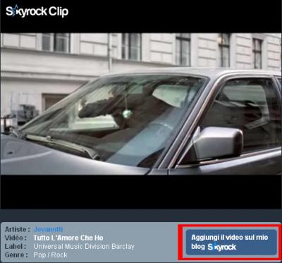 Aggiungi un video da Skyrock Clip