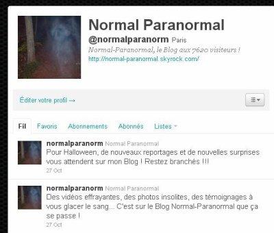 Normal-Paranormal est sur Twitter !!!