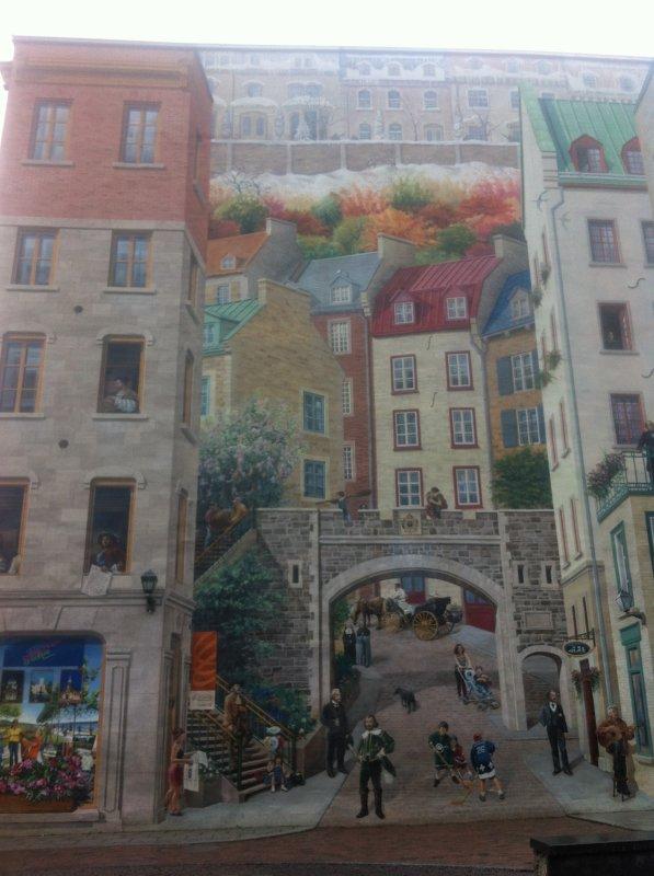 Peinture sur un grand mur de Quebec