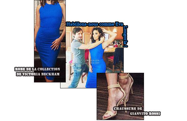 * 01/02/16 : Eva était présente lors du photocall pour la série     Telenovela    au restaurant Beso dans  Los Angeles. La tenue  d'Eva  est simple mais est  jolie. Cette robe avec ce bleu dit electrique lui va parfaitement bien et on adore son sourire -  un TOP    ! *