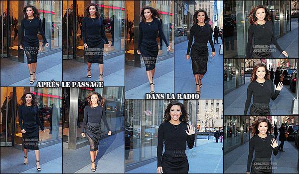* 18/02/16 : Eva était présente lors de l'émission radio      Sway in the Morning    qui est situé dans  New York City.  L'émission est enregistré dans les studios SiriusXM Studios et Eva était accompagné de Kate Hudson pour l'évenement. Côté tenue    TOP    ! *
