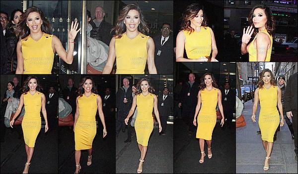 * 18/02/16 : Eva a été aperçu lorsqu'elle quittait les studios de    Today Show     qui sont situés dans New York City.  Eva nous a sortie sa plus jolie robe jaune qui lui va comme un gant. On aime aussi bien la robe que les chaussures et ses cheveux   TOP    !  *