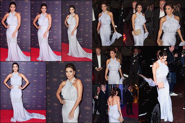 * 11/05/16 : Eva était présente lors de l'Opening Gala Dinner  pendant les festival de film de Cannes - France.   Eva a une très jolie et longue robe mauve qui est très jolie sur elle et qui est parfaite pour elle avec un jolie maquillage - c'est un  TOP    ! *