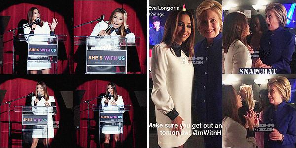 * 06/06/16 : Eva  a été aperçu quitter la soirée de caritative de    Hillary Clinton    au Greek Theatre à  - Los Angeles.   Eva a un véritable gout étant donné les magnifique tenues qu'elle nous présente et celle ci en fait partie, elle lui va super bien -  un  TOP    ! *
