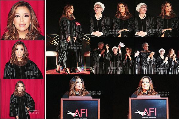 * 15/06/16 : Eva  était présente lors du      AFI Conservatory    au TLC Chinese Theatre qui est situé dans    Hollywood.   Eva porte une robe universitaire qui est sympa mais je dois avouer que j'aime beaucoup ses cheveux c'est vraiment magnifique -    TOP    ! *