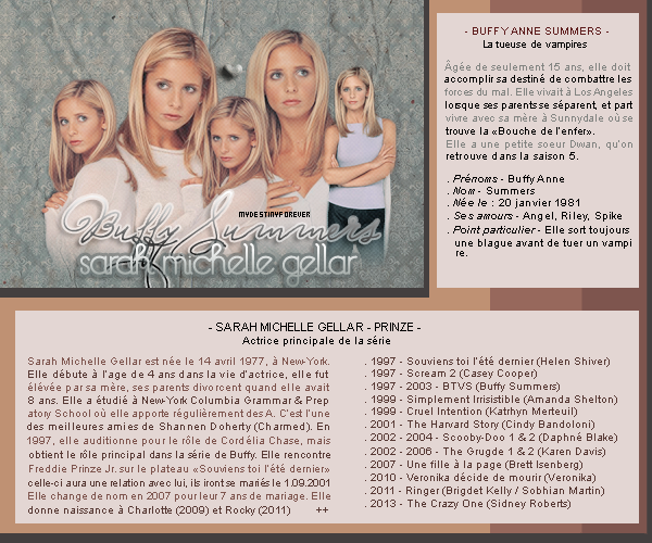 ~ { o3 }    Sarah Michelle Gellar joue Buffy Summers  >> Crea - Decos - Source - Musique