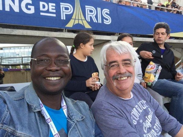 Meeting de Paris( stade charlety) 1 er juillet 2017, avec Yves Seigneuric, Arthemon, et quelques athletes du PUC( paris université Club)