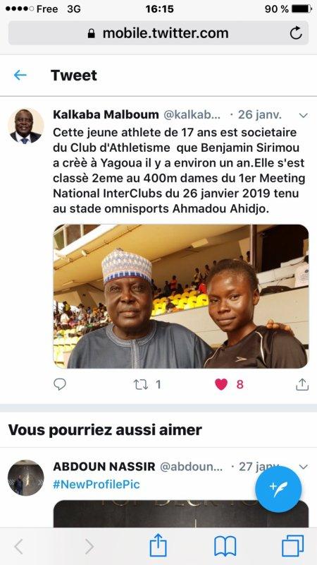 1 er Tour interclubs national d'athlétisme  à Yaoundé  au Cameroun le 26 janvier 2019  Merci au President Kalkaba, Ange Sama,Françoise Mbango , Fort Lamy,Bouba Mangal,Tchonang Rigobert et les autres pour le soutien à ATHLETIC CLUB DE YAGOUA ( extrême nord Cameroun)