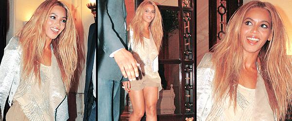 23/04/2011 - Beyonce et jay partent de l' hotel pour rejoindre kanye west au club l' arc .