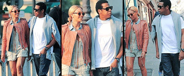 25/04/2011 - Beyonce et Jay se balladent dans Paris en amoureux ....