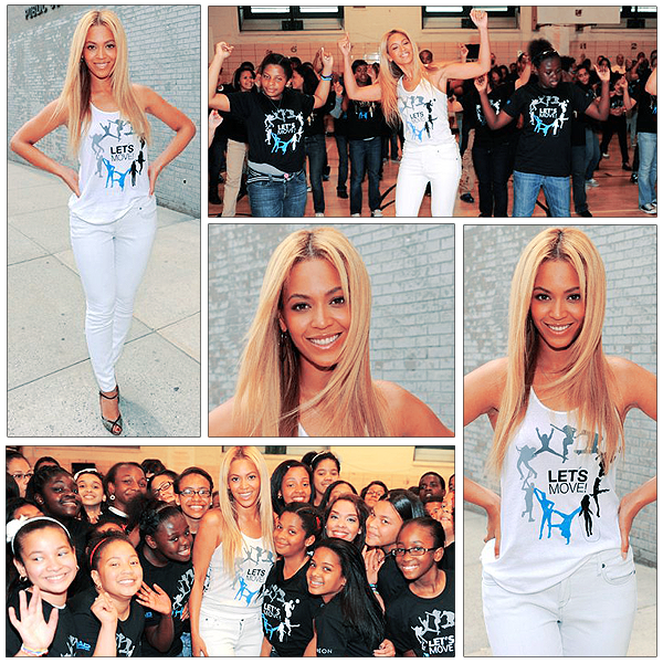 03/05/2011 -  Beyonce fait la surprise aux élèves du collège de Harlem ces dernières semblaient etre très heureuses . Beyonce était super sexy et la danse etait super magnifique.