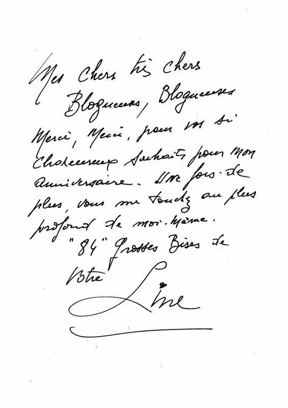 Line Renaud - Line vous dit MERCI pour vos messages affectueux laissés sur le blog à l'occasion de son anniversaire...