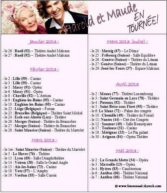 Line Renaud - Planning complet de la tournée d'Harold et Maude (janv. à mai 2013)