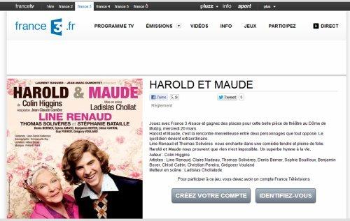 Line Renaud - Concours: Places à gagner pour Harold et Maude à Mutzig le 20 mars 2013 (via Fr3 Alsance)