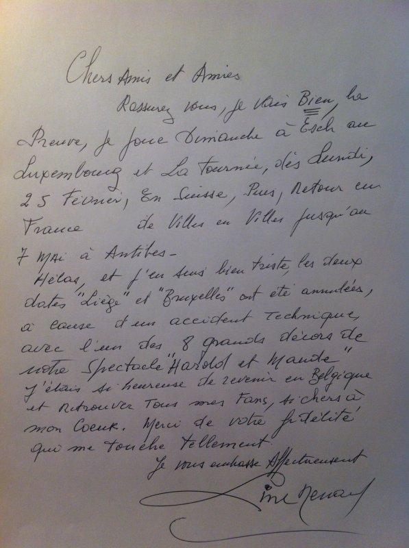 Line Renaud - Tournée Harold et Maude: dates belges annulées :(((