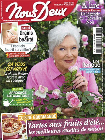 """Line Renaud - """"Sa vérité au service des autres"""": Magazine Nous Deux du 25 juin au 1er juillet 2013"""