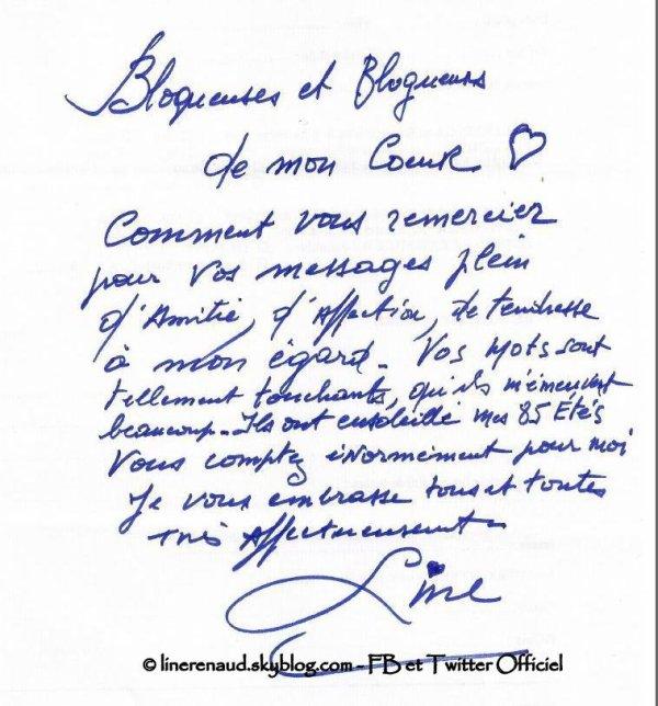 Line Renaud - Merci pour vos petits mots à l'occasion de mon anniversaire!