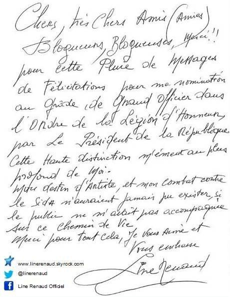 Line Renaud - Remerciements pour vos messages reçus...