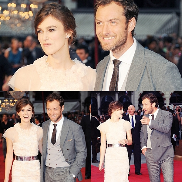 Le 4 Septembre 2012   Keira était à l'avant première  du film Anna Karenine à Londres.  Elle portait à l'occasion une robe blanche Chanel. J'adore sa complicité avec Jude Law !