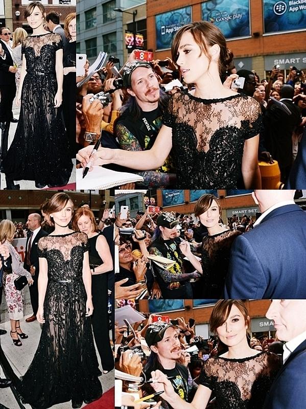 Le 7 Septembre 2012   Keira Knightley était à la première Anna Karénine au Festival de Toronto.  Keira portait une  robe  de perles noires d' Elie Saab . Il y aura surement une conférence de presse avec de nouvelles photos !