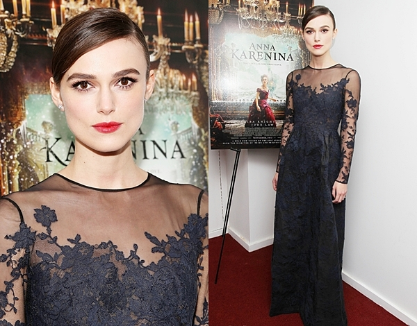 7 Novembre 2012 Keira Knightley a assisté à l'avant première d' Anna Karenine à New York. Elle portait une robe Valentino