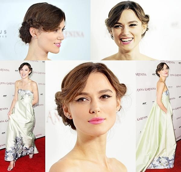 14 Novembre 2012 Keira a assisté à la première d'Anna Karénine au ArcLight Hollywood en Californie. Je la trouve vraiment ravissante dans cette robe pastel ! Puis le chignon lui va à merveille :)
