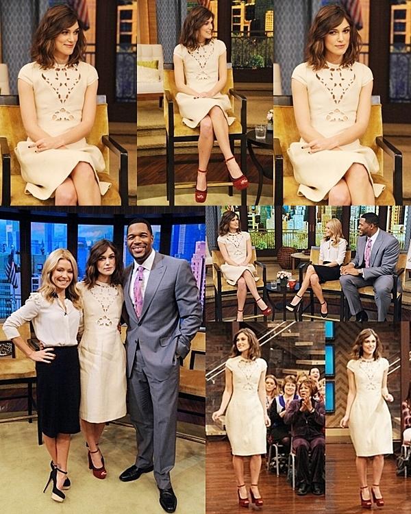 4 Décembre 2012 Keira était présente à l'émission américaine de Kelly et Michael.