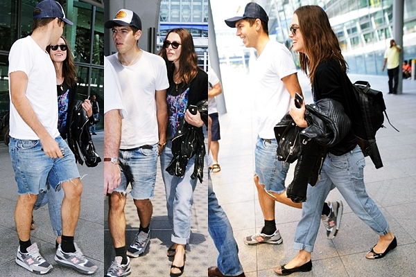 9 Juillet 2013 Keira ayant fini le tournage de Laggies, elle a été aperçue avec James à l'aéroport pour rentrer à Londres.