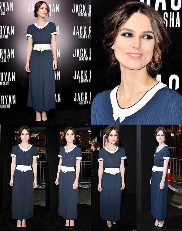 15 Janvier 2014 :  Keira a assisté comme prévu, à l'avant première du film Jack Ryan. Elle était vêtu du robe bleu marine signée Chanel.