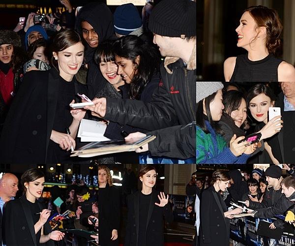 20 Janvier 2014 :  Keira était présente à l'avant première de Jack Ryan à Londres, en compagnie du réalisateur et de Chris Pine.