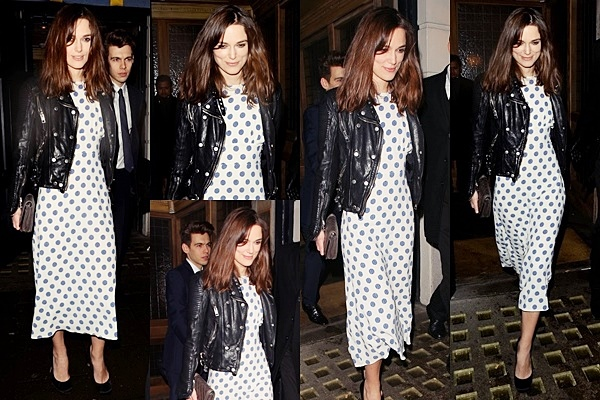 14 Février 2014 :  Keira et James ont participé au Pré-Bafa à Londres. Elle portait une robe Burberry blanche à pois bleu.