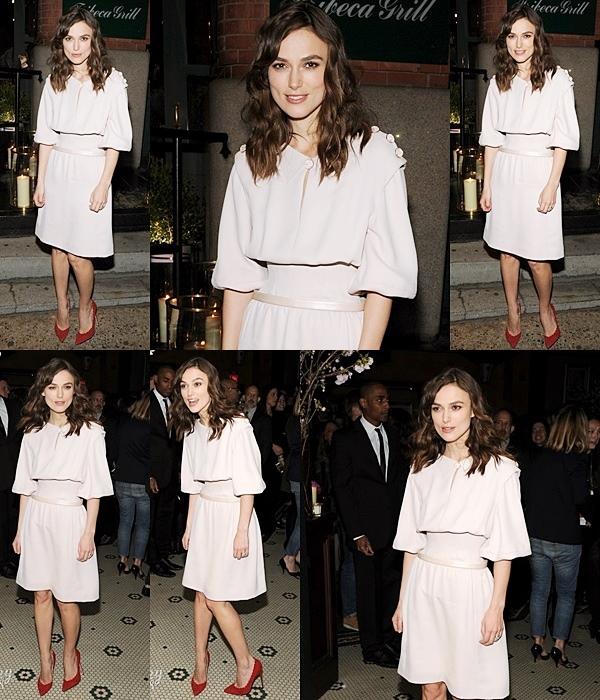 26 Avril 2014 :  Keira était présente à un diner organisé par Chanel en l'honneur du Tribeca Film Festival 2014 dont «Begin Again» était le film de clôture.