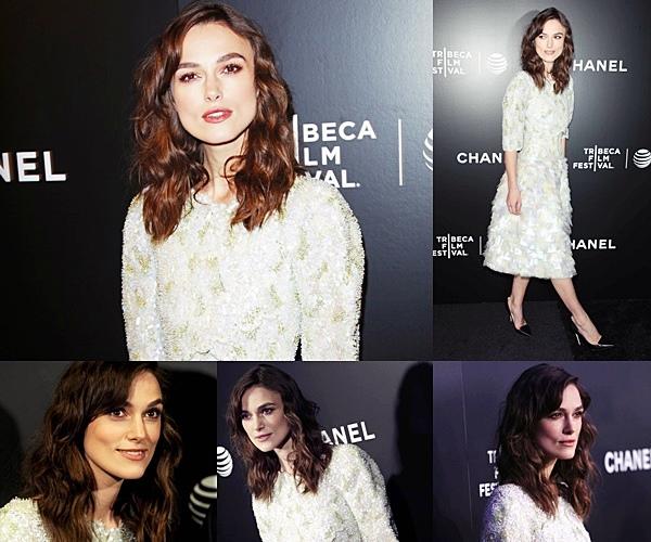 26 Avril 2014 :  Keira a participé à l'avant première de Begin Again organisé à l'occasion du Tribeca Film Festival 2014. Elle portait une robe Chanel !