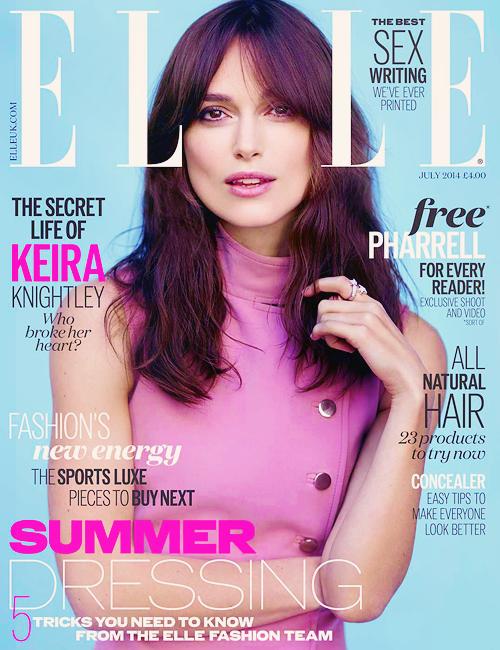 3 Juin 2014 :  Keira fait la couverture du magazine ELLE UK de juillet 2014. Des photos du shooting réalisé pour l'occasion devaient faire leur apparition prochainement.