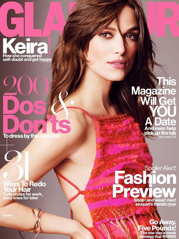 9 Juin 2014 :  Keira fait la couverture du magazine Glamour US. On peut voir que la promotion de Begin Again est bien lancée ! Les premières photos sont arrivées.