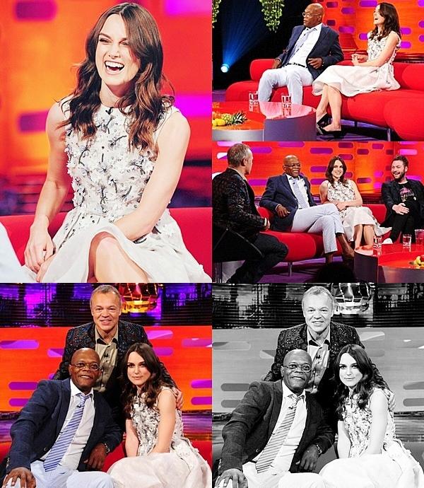 13 Juin 2014 :  Keira était présente à l'émission Graham Norton Show pour promouvoir Begin Again.