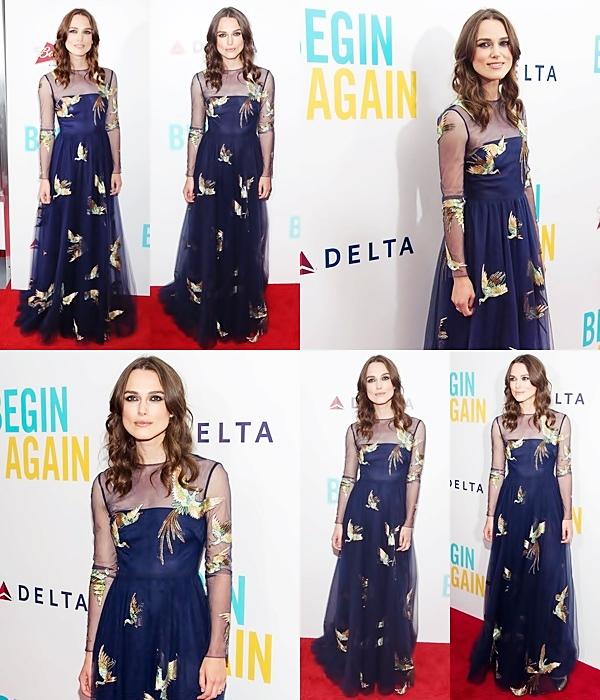 25 Juin 2014 :  Keira était présente à l'avant première de son nouveau film Begin Again. Elle portait une robe bleue Valentino.