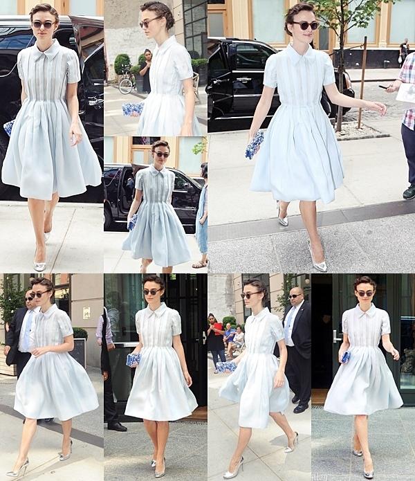 26 Juin 2014 :  Keira a participé à une conférence de presse à New York en compagnie du réalisateur et du casting. Elle portait une robe signée Prada.