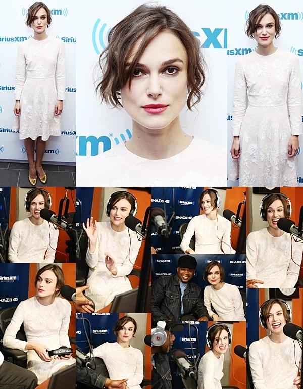 27 Juin 2014 :  Keira  était au  SiriusXM Studios à New York afin de promouvoir Begin Again. Sa robe est signée Huishan Zhang !