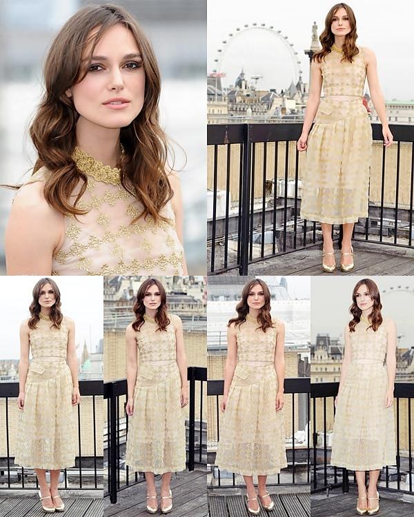 2 Juillet 2014 :  Keira a participé à un photocall à Londres à l'occasion de la promotion de Begin Again. Elle porte une robe signée Simone Rocha.