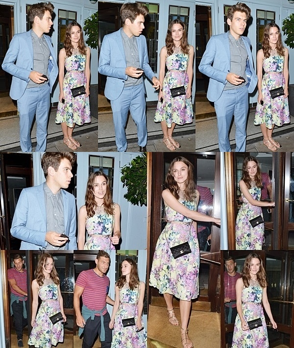 12 Juillet 2014 :  Keira et James ont été vu avec un ami, sortant du restaurant Quo Vadis à Londres.