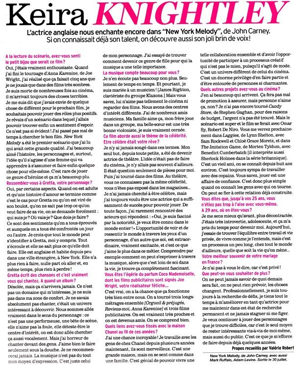 26 Juillet 2014 :  Keira a fait la couverture du magazine Femina français ! Je vous ai scanné les pages la concernant.