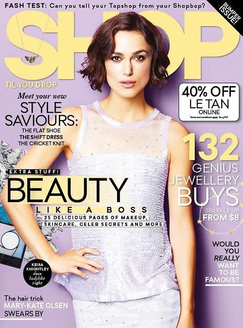 9 Août 2014 :  Keira fait la couverture du magazine Shop Til You Drop du mois d'août.