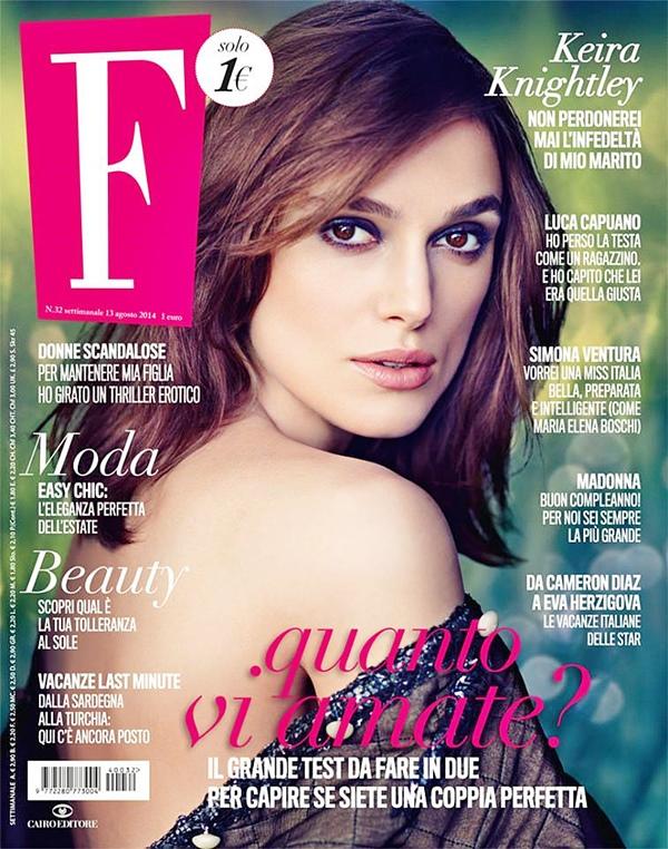 15 Août 2014 :  Keira fait la couverture du magazine F du mois d'août.