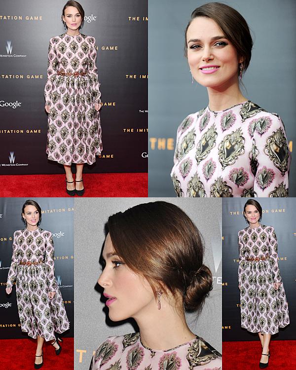17 Novembre 2014 :  Keira était présente à l'avant première de The Imitation Game à New York ! Elle portait une robe  Dolce & Gabbana.